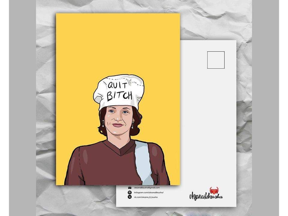 Почтовая открытка с любимыми героями из сериала «Friends: довольная Моника» художницы oksanailiksusha