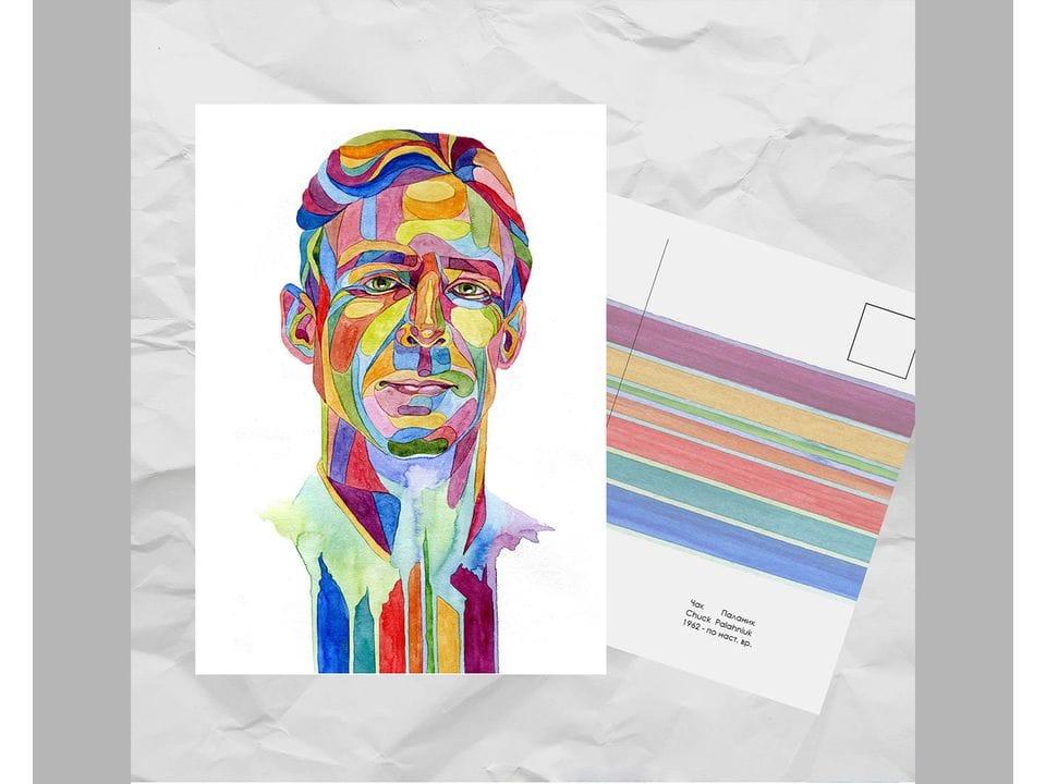 Почтовая открытка из серии «Писатели и поэты: Паланик Ч.» художницы oksanailiksusha