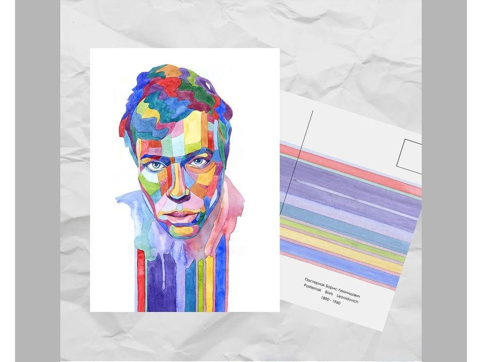 Почтовая открытка из серии «Писатели и поэты: Пастернак Б. Л.» художницы oksanailiksusha