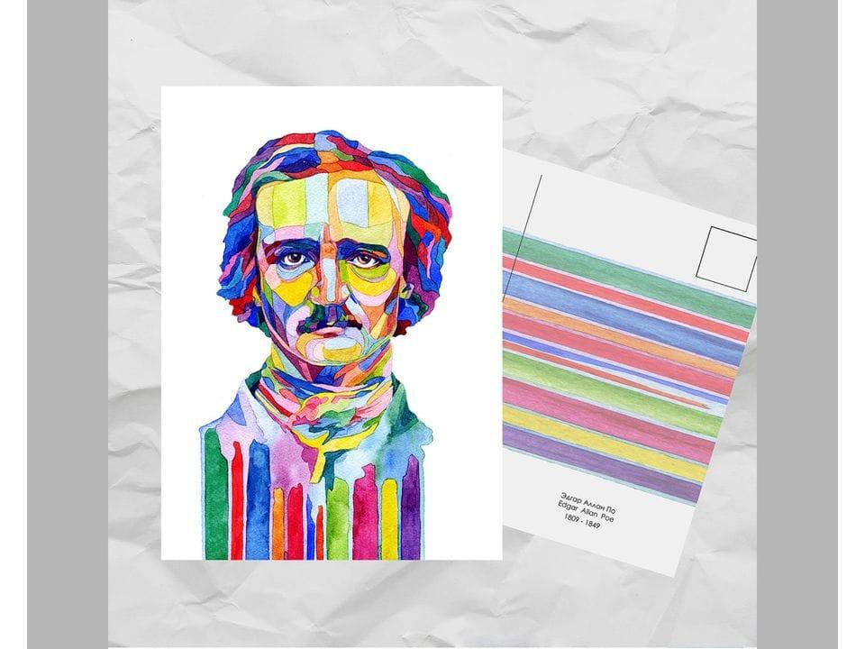 Почтовая открытка из серии «Писатели и поэты: По Э. А.» художницы oksanailiksusha