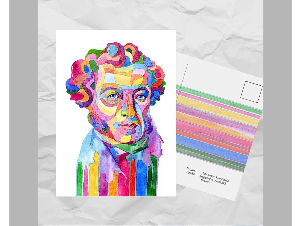 Почтовая открытка из серии «Писатели и поэты: Пушкин А. С.» художницы oksanailiksusha