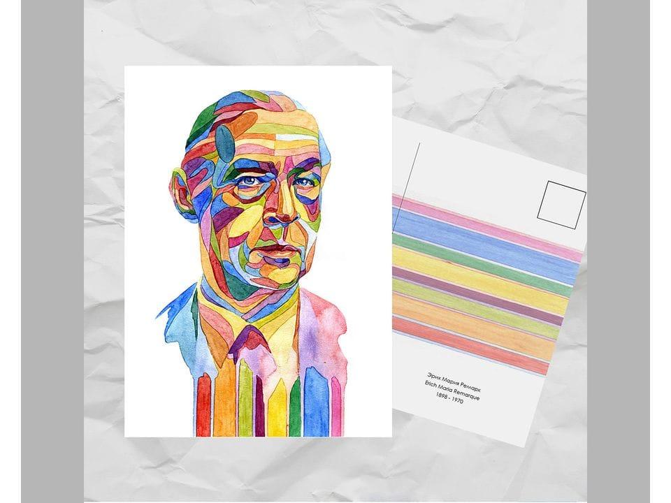 Почтовая открытка из серии «Писатели и поэты: Ремарк Э. М.» художницы oksanailiksusha