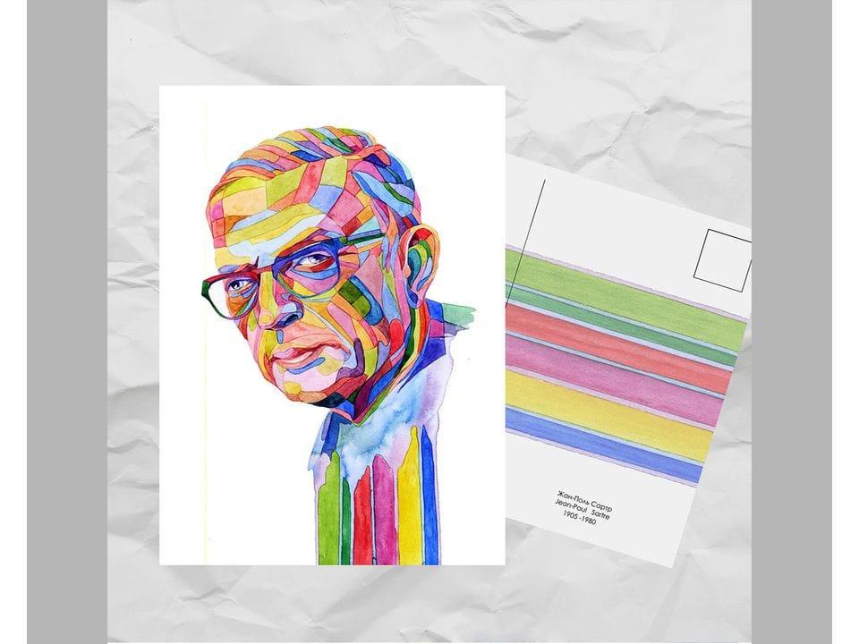 Почтовая открытка из серии «Писатели и поэты: Сартр Ж.» художницы oksanailiksusha