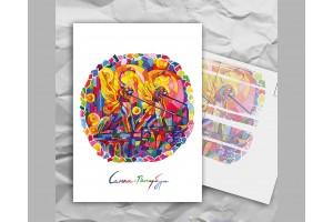 Почтовая открытка с авторскими акварельными пейзажами любимого города Санкт-Петербург: «банковский мост»