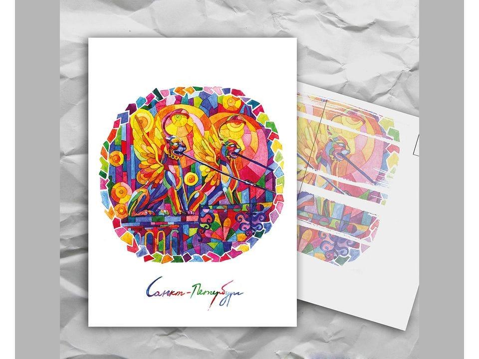 Почтовая открытка с авторскими акварельными пейзажами любимого города Санкт-Петербург: «банковский мост» художницы oksanailiksusha