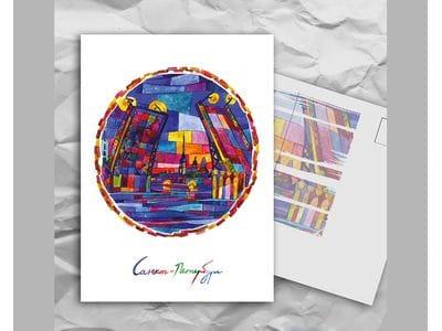 Почтовая открытка с авторскими акварельными пейзажами любимого города Санкт-Петербург: «мосты»