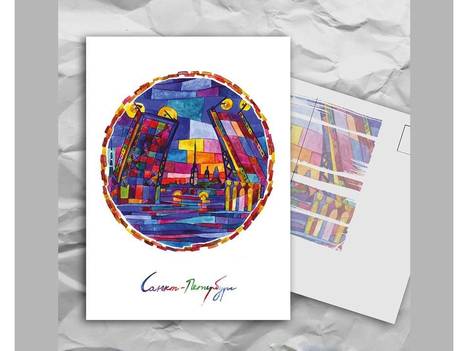 Почтовая открытка с авторскими акварельными пейзажами любимого города Санкт-Петербург: «мосты» художницы oksanailiksusha