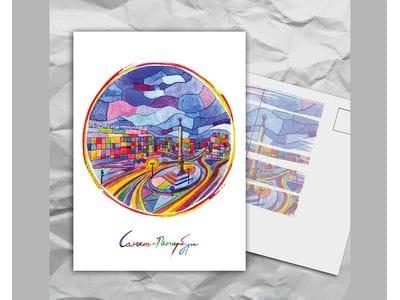 Почтовая открытка с авторскими акварельными пейзажами любимого города Санкт-Петербург: «площадь Восстания»