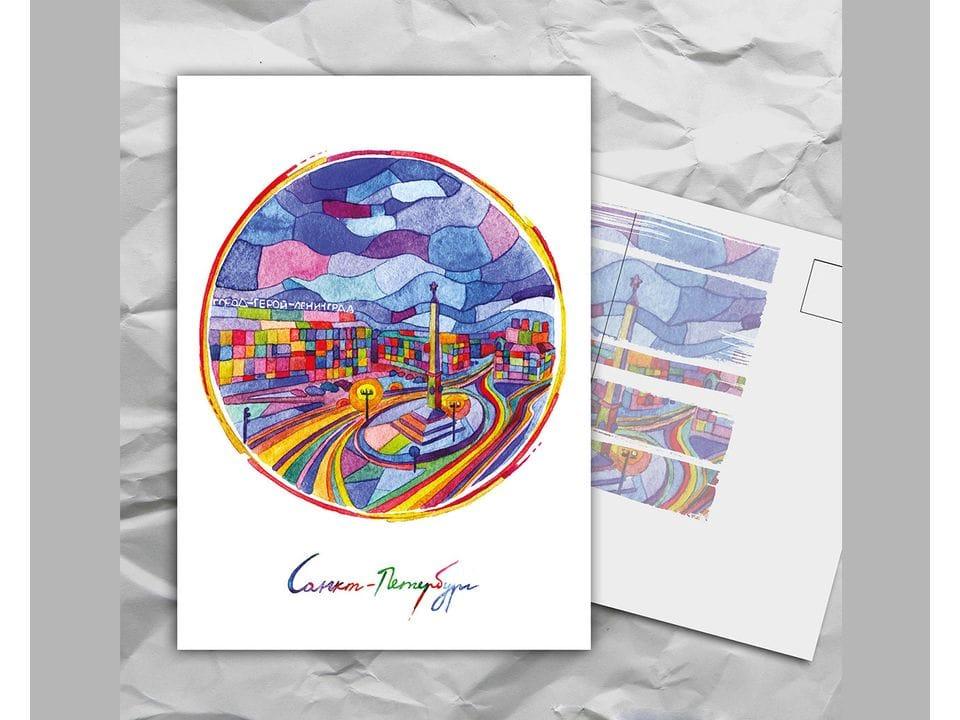 Почтовая открытка с авторскими акварельными пейзажами любимого города Санкт-Петербург: «площадь Восстания» художницы oksanailiksusha