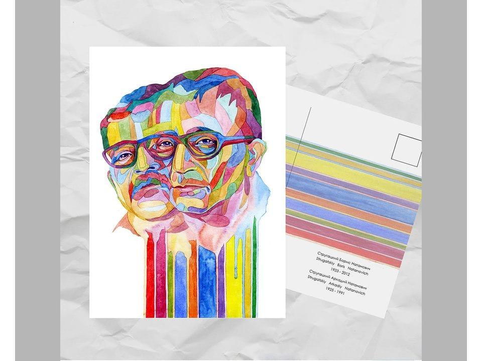 Почтовая открытка из серии «Писатели и поэты: Стругацкие А. Н. и Б. Н.» художницы oksanailiksusha