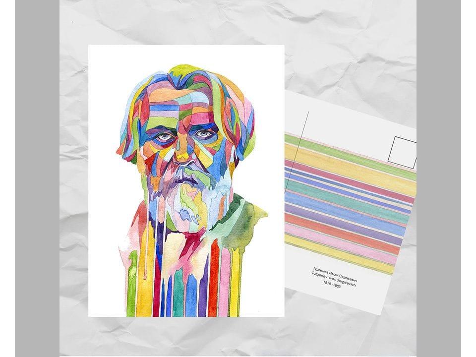 Почтовая открытка из серии «Писатели и поэты: Тургенев И. С.» художницы oksanailiksusha