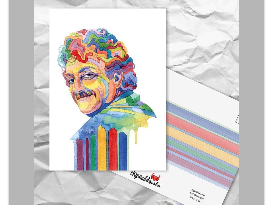 Почтовая открытка из серии «Писатели и поэты: Воннегут К.» художницы oksanailiksusha