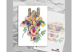 Почтовая открытка с яркими акварельными животными «Жираф»