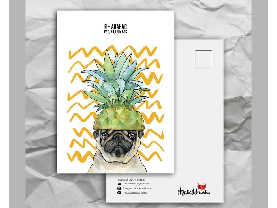 Почтовая открытка с забавными животными «Я ананас. Рад видеть вас» художницы oksanailiksusha