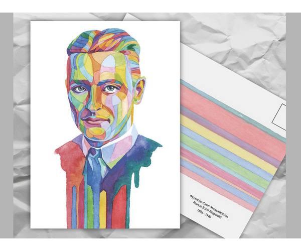 Почтовая открытка из серии «Писатели и поэты: Ф. С. Фицджеральд» художницы oksanailiksusha
