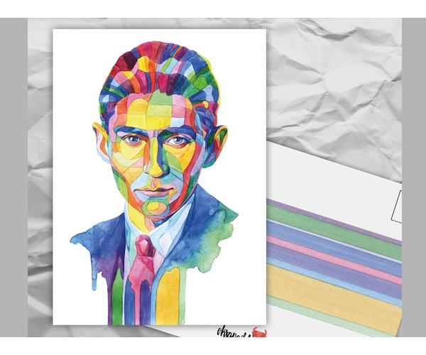 Почтовая открытка из серии «Писатели и поэты: Ф. Кафка» художницы oksanailiksusha