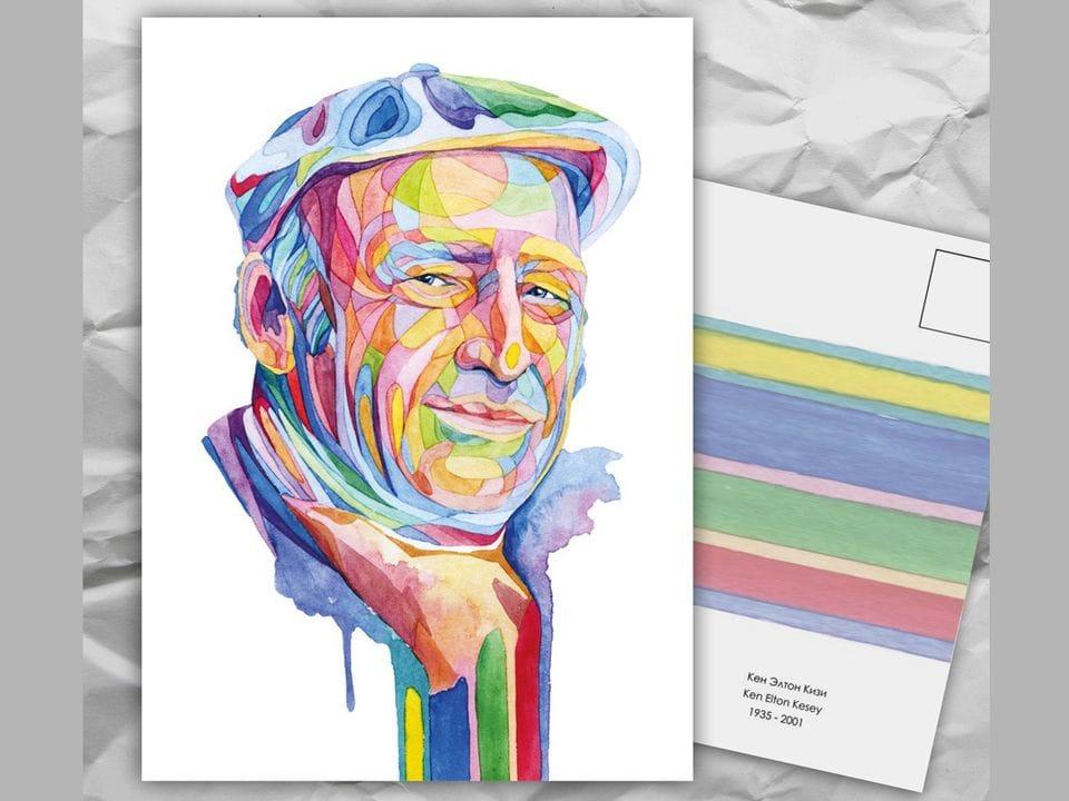 Почтовая открытка из серии «Писатели и поэты: К. Кизи» художницы oksanailiksusha
