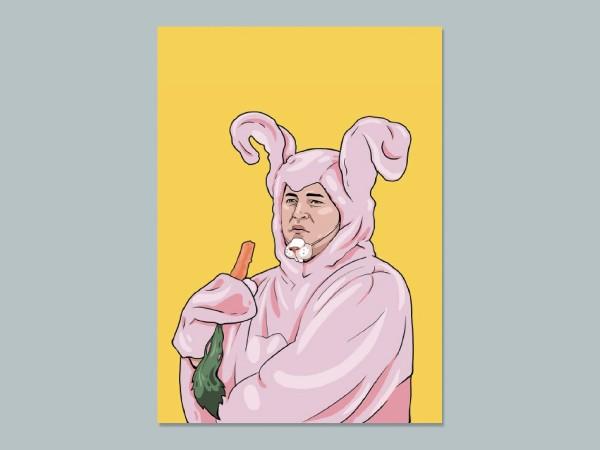 Почтовая открытка с любимыми героями из сериала «Friends: В костюме розового кролика»