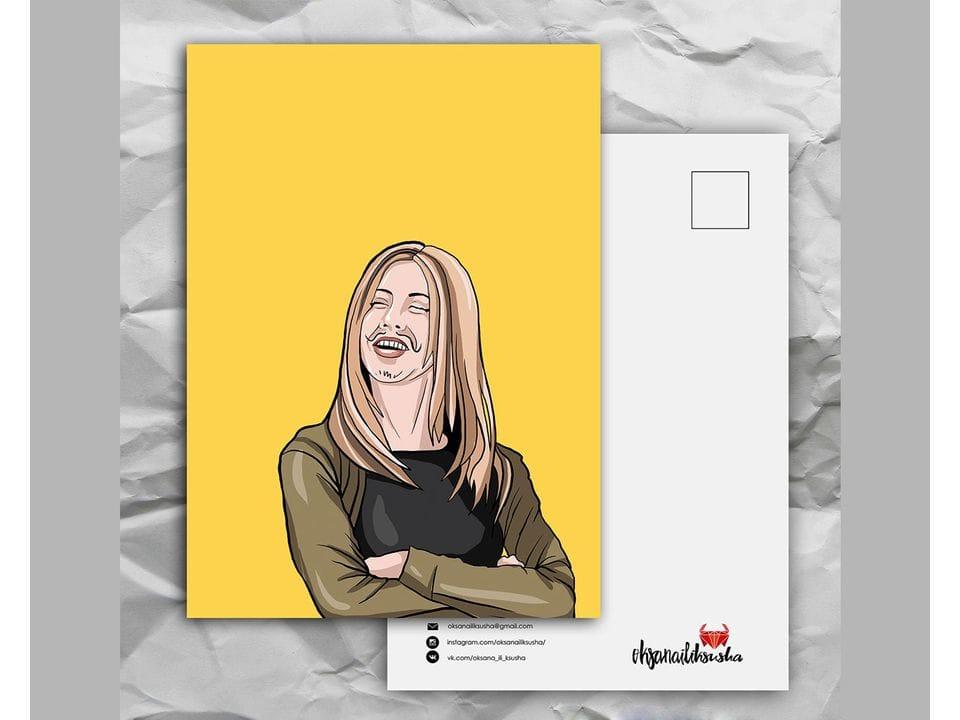 Почтовая открытка с любимыми героями из сериала «Friends: Рейчел с усиками» художницы oksanailiksusha