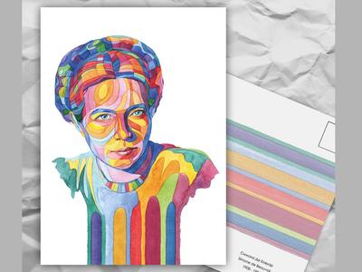 Почтовая открытка из серии «Писатели и поэты: С. Де Бовуар»
