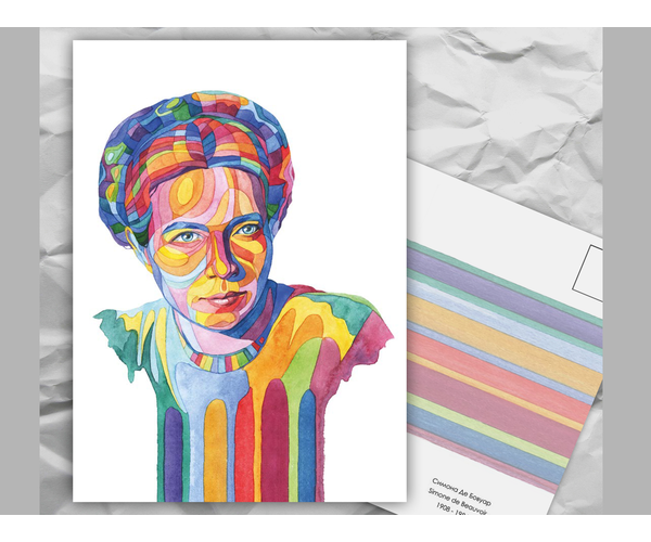 Почтовая открытка из серии «Писатели и поэты: С. Де Бовуар» художницы oksanailiksusha