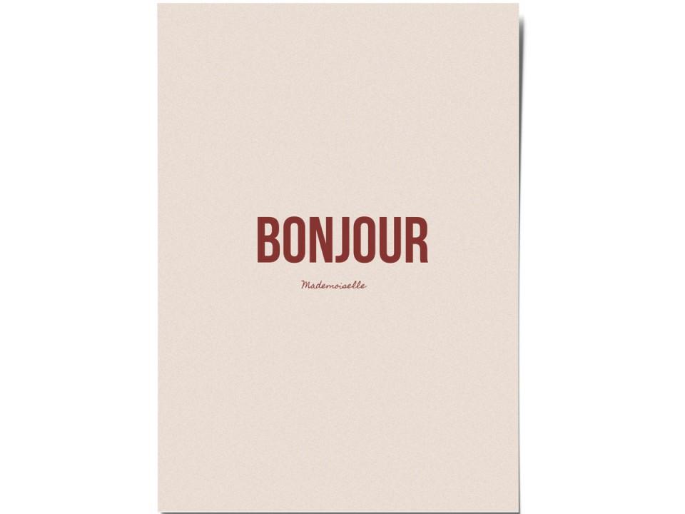 Авторская почтовая открытка «Bonjour». O paper paper