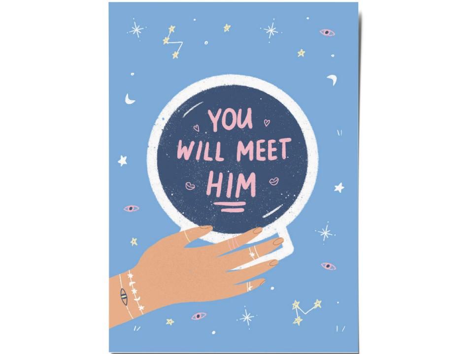 Авторская почтовая открытка «Meet him».  O paper paper