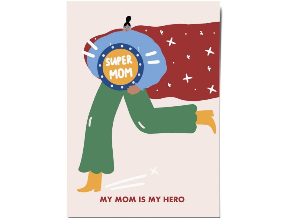 Авторская почтовая открытка «Mom hero». O paper paper