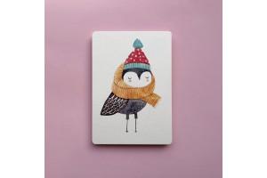 Почтовая открытка «Птичка в шарфе»