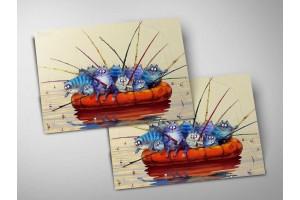 Почтовая открытка «Артель», синие коты, Ирина Зенюк
