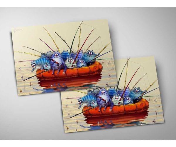Почтовая открытка «Артель», из коллекции Ирины Зенюк «Синие коты»