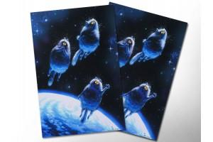 Почтовая открытка «Посланцы», синие коты, Ирина Зенюк