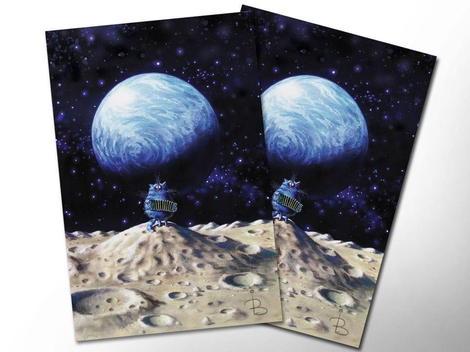 Почтовая открытка «Одиночество», из коллекции Ирины Зенюк «Синие коты»