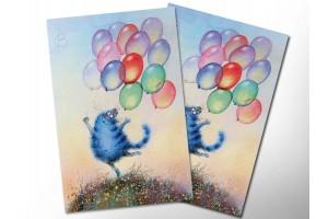 Почтовая открытка «Радость», синие коты, Ирина Зенюк
