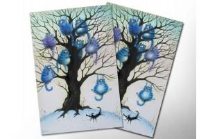Почтовая открытка «Страх», синие коты, Ирина Зенюк