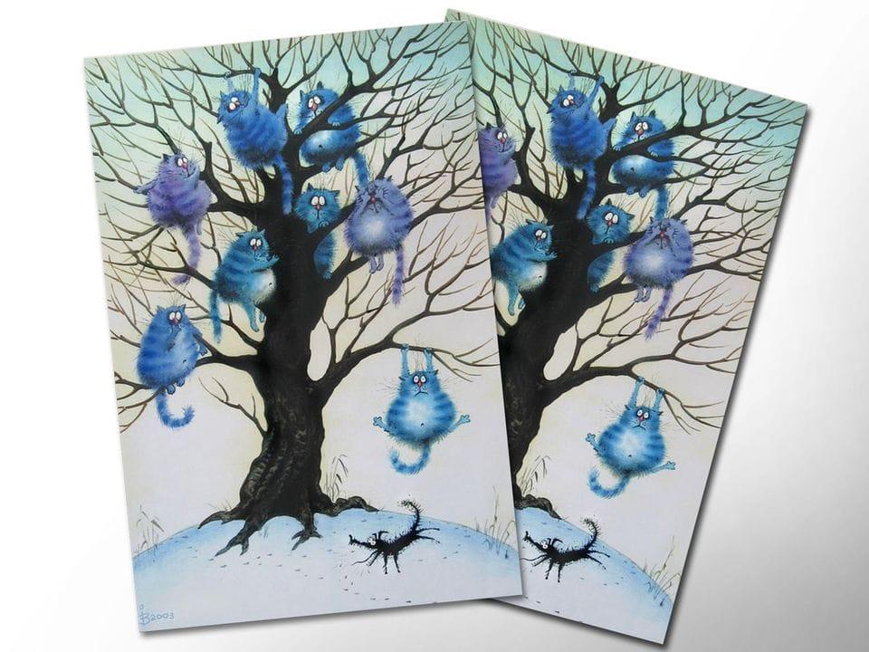 Почтовая открытка «Страх», из коллекции Ирины Зенюк «Синие коты»