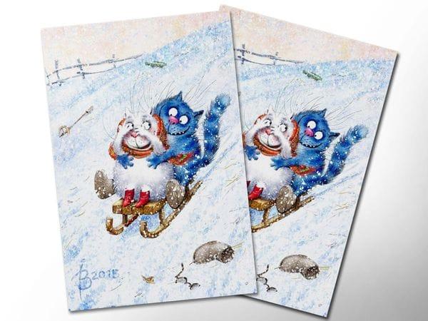Почтовая открытка «Зимушка 3», синие коты, Ирина Зенюк