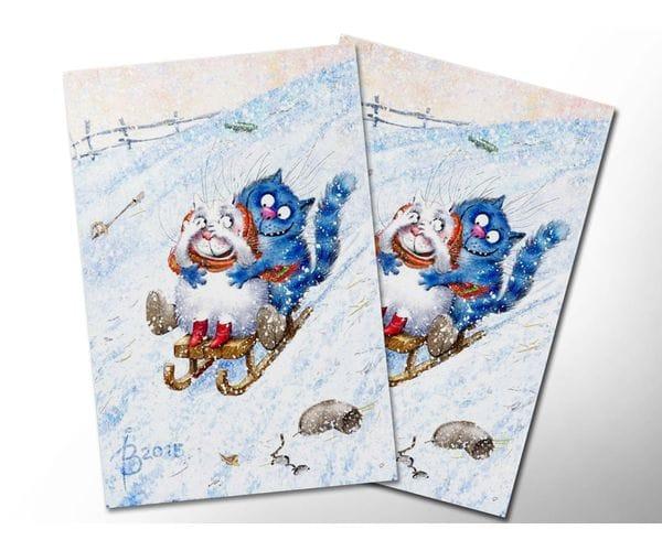 Почтовая открытка «Зимушка 3», из коллекции Ирины Зенюк «Синие коты»