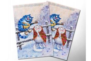 Почтовая открытка «Зимушка 4», синие коты, Ирина Зенюк