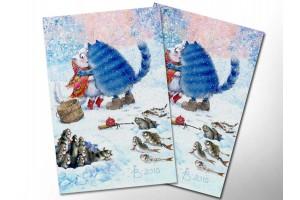 Почтовая открытка «Зимушка 5», синие коты, Ирина Зенюк