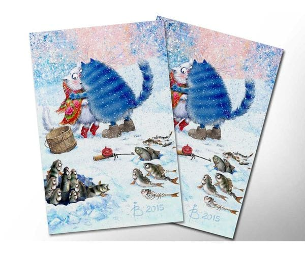 Почтовая открытка «Зимушка 5», из коллекции Ирины Зенюк «Синие коты»