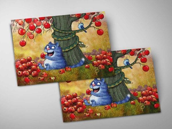 Почтовая открытка «Искушение», синие коты, Ирина Зенюк