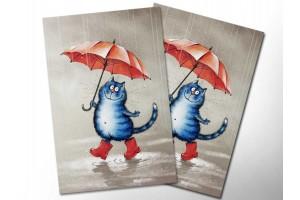 Почтовая открытка «Кот в сапогах», синие коты, Ирина Зенюк
