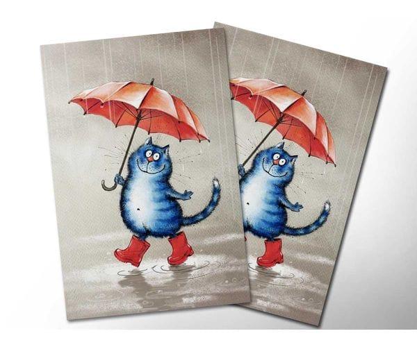 Почтовая открытка «Кот в сапогах», из коллекции Ирины Зенюк «Синие коты»