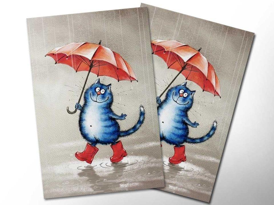Открытка почтовая «Кот в сапогах», из коллекции Ирины Зенюк «Синие коты»