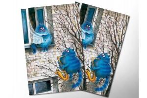 Почтовая открытка «Мелодия любви», синие коты, Ирина Зенюк