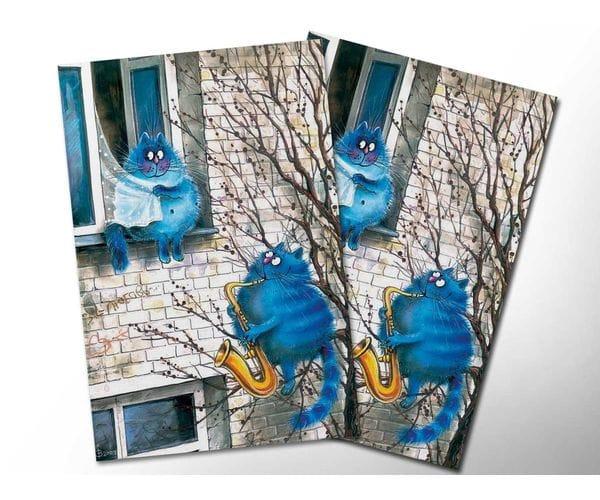 Почтовая открытка «Мелодия любви», из коллекции Ирины Зенюк «Синие коты»