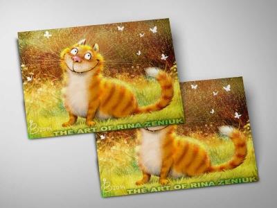 Почтовая открытка «Сияние», синие коты, Ирина Зенюк