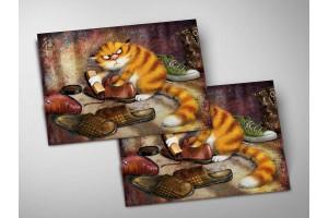 Почтовая открытка «Очищение», синие коты, Ирина Зенюк