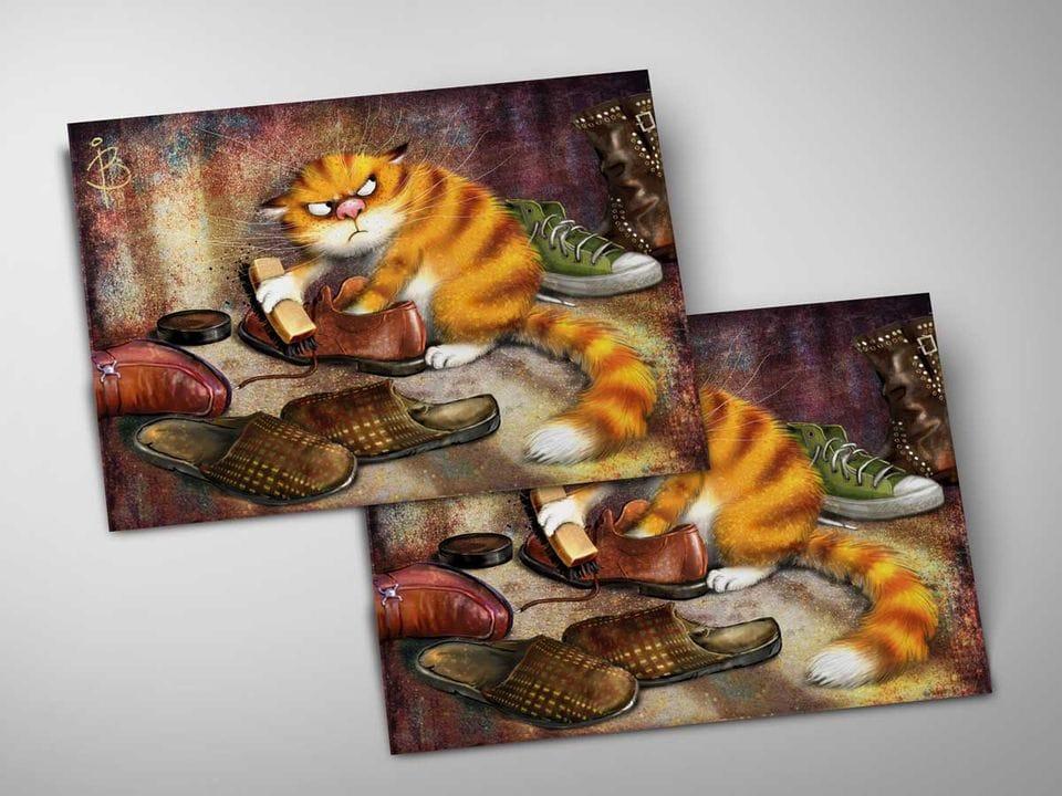 Почтовая открытка «Очищение», из коллекции Ирины Зенюк «Синие коты»